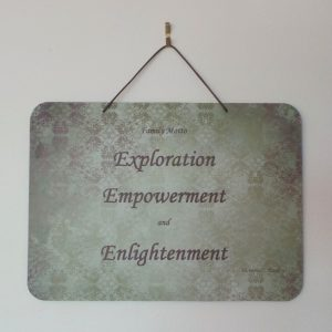 Family Motto: Exploration, Empowerment, Enlightenment - Khaki/Plum