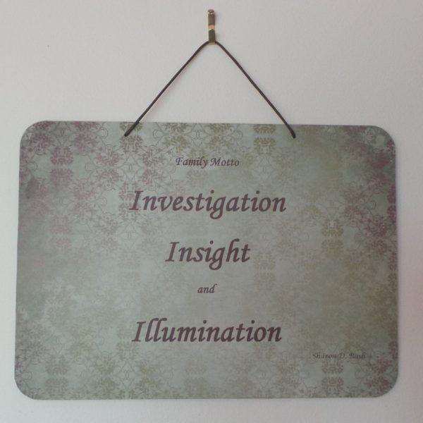 Family Motto: Investigation, Insight, Illumination - Khaki/Plum