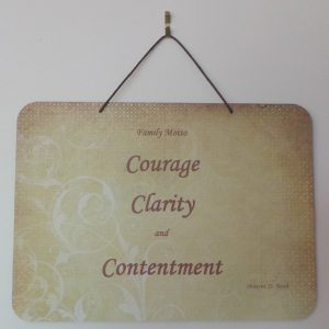 Family Motto, Courage, Clarity, Contentment - Lime/Rust