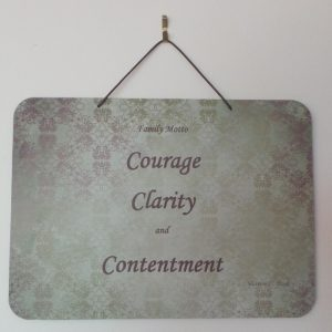 Family Motto, Courage, Clarity, Contentment - Khaki/Plum