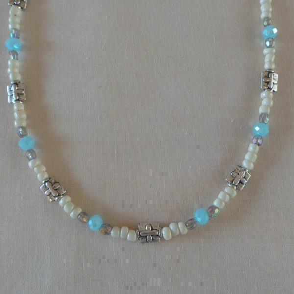 Christian Cross Necklace - Cream/Blue