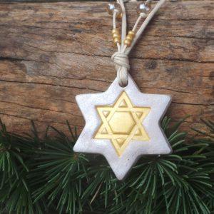 Star of David - Gold/Pearl Large