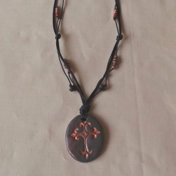 Bronze Cross, Long Necklace