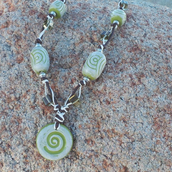 Sacred Spiral Necklace - Lime/Eggshell