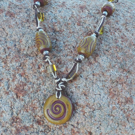 Sacred Spiral Necklace - Rust/Orchre