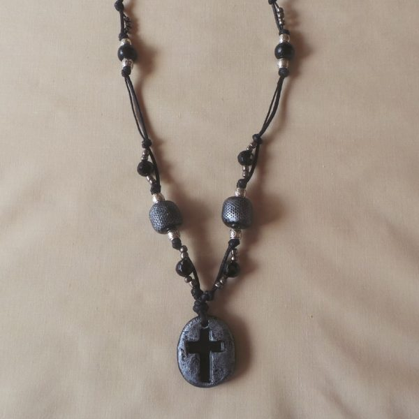 Black Regal Cross - Necklace