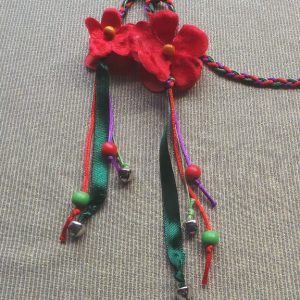 Headband- Flower: Red, Green & Purple