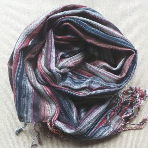 Scarf Cotton - Black, Rust & Natural