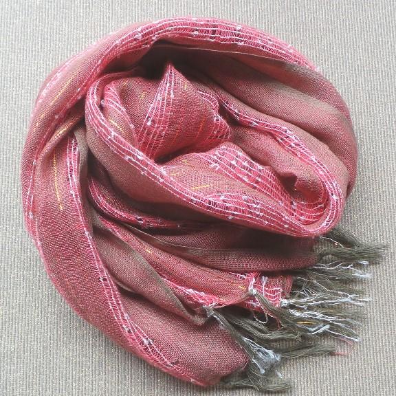 Scarf Cotton/Lurex - Peach & Khaki