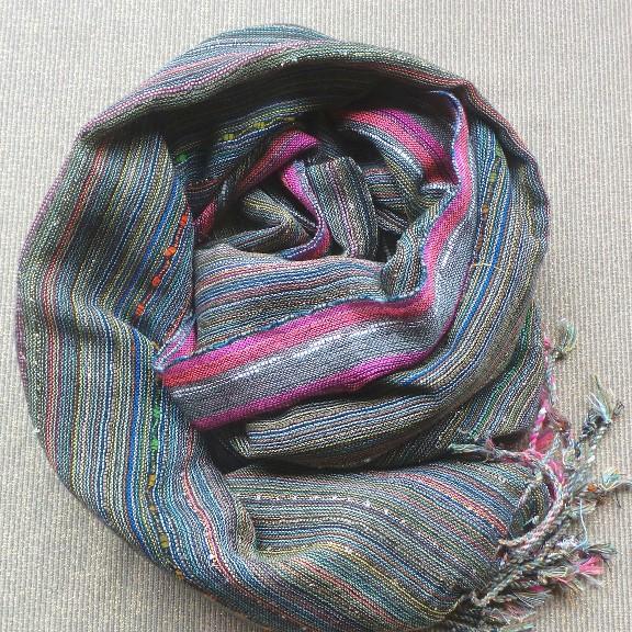 Scarf Cotton/Lurex - Khaki & Pink