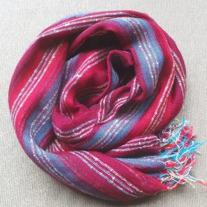 Scarf Cotton - Maroon, Red & Aqua
