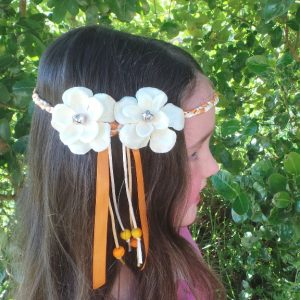 Headband Flower - Child Size, Cream/Orange