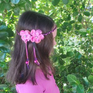 Headband Flower - Child Size, Pink/Black
