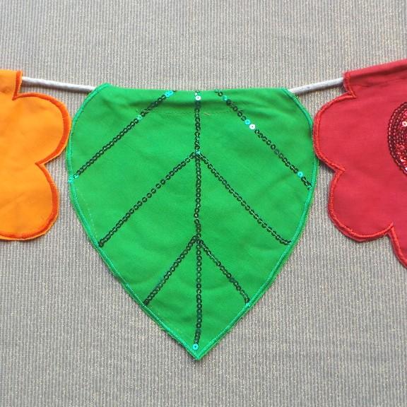 Flower Bunting - Orange, Green & Red