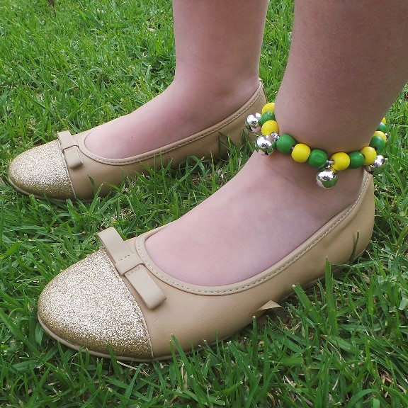 Bell Anklet Child - Green & Yellow