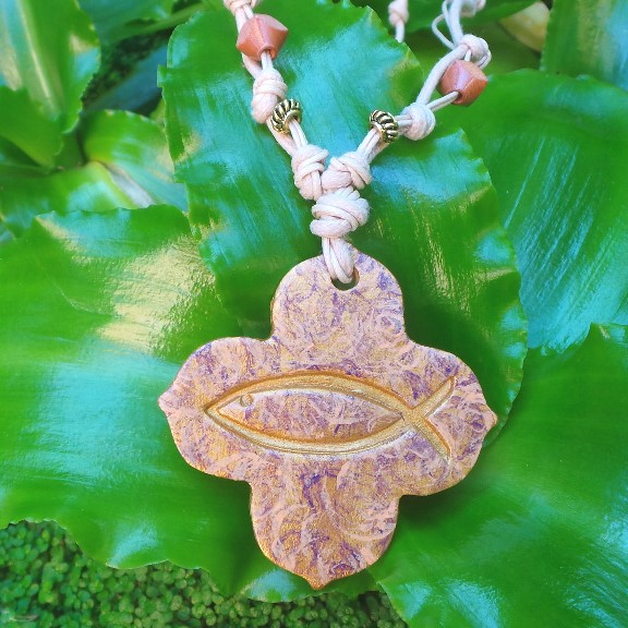 Christian Fish Symbol - Gold/Plum