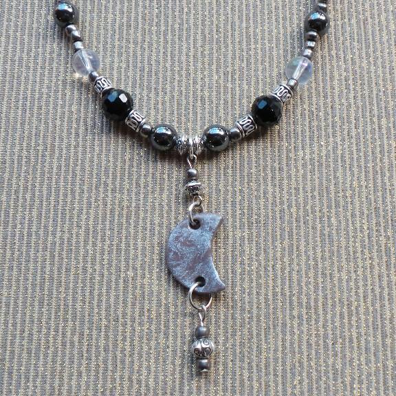 Crescent Moon Necklace - Grey/Black