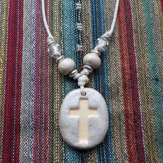 Christian Cross - Off-White & Silver