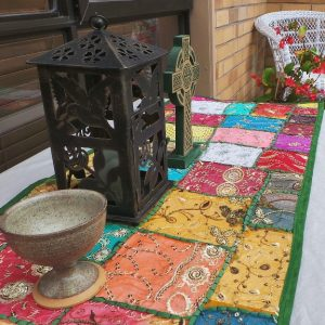 Recycled Sari Altar Cloth - Multi Coloured/Green