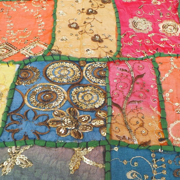 Recycled Sari Altar Cloth - Multi Coloured/Green