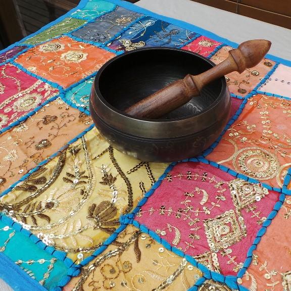 Recycled Sari Altar Cloth - Multi Coloured/Blue