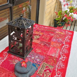 Recycled Sari Altar Cloth - Red