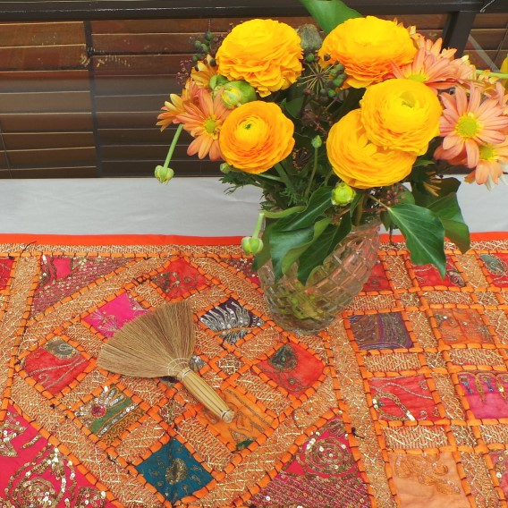 Recycled Sari Altar Cloth - Orange