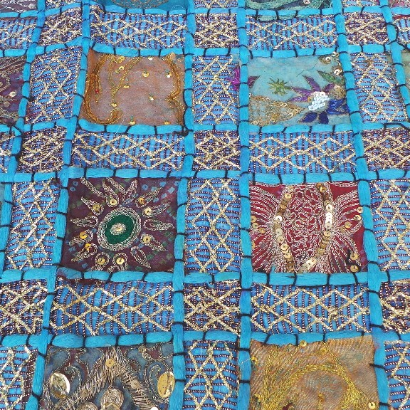 Recycled Sari Altar Cloth - Light Blue