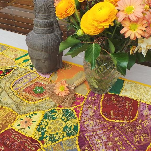 Recycled Sari Altar Cloth - Yellow