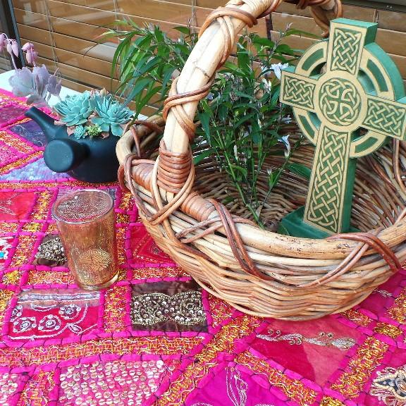 Recycled Sari Altar Cloth - Pink