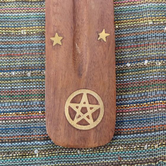 Incense Holder - Pentagram, wood