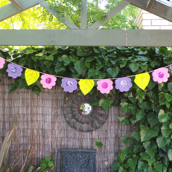 Flower Bunting - Pink, Lime & Mauve