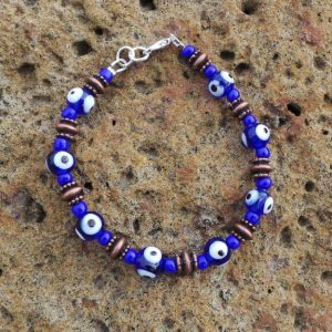 Evil Eye Bracelet - Blue & Copper