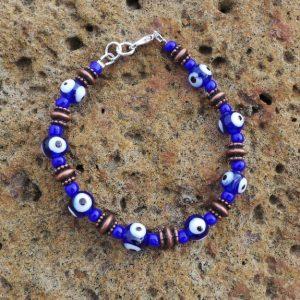 Evil Eye Bracelet - Blue & Copper