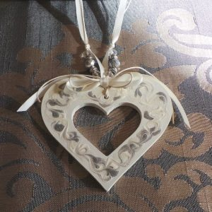 Wedding Charm Heart, (Large) Cream & Silver