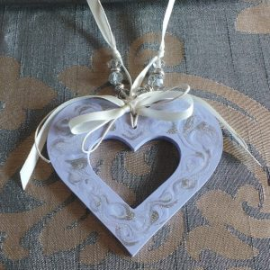 Wedding Charm Heart (Large) Mauve, Silver & Cream