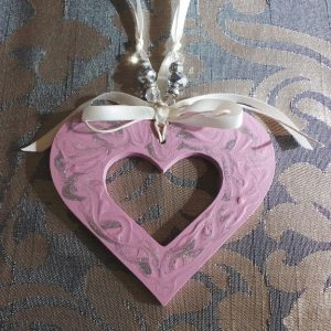 Wedding Charm Heart, (Large) Dusty Pink, Silver & Cream