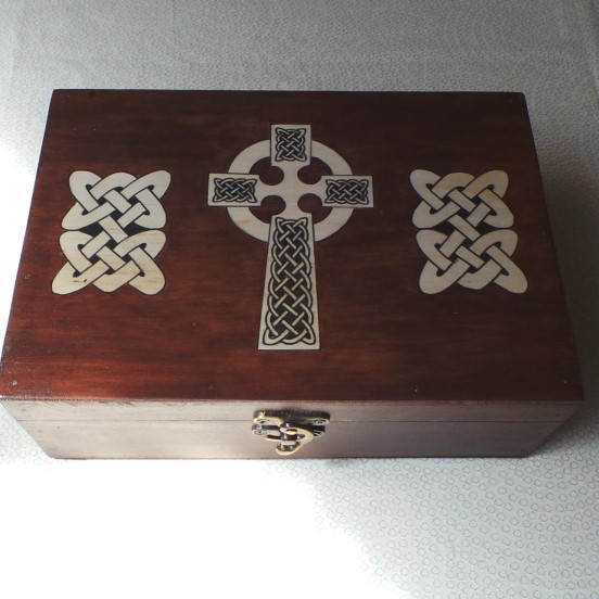 Celtic Keepsake/Jewellery Box; Celtic Cross - Brown & Natural