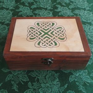 Celtic Keepsake/Jewellery Box - Love Knot: Green & Brown