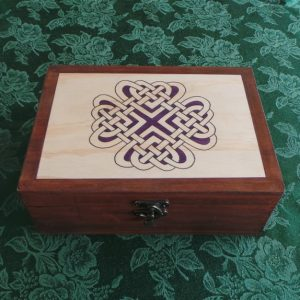 Celtic Keepsake/Jewellery Box - Love Knot: Purple & Brown