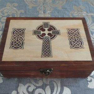 Celtic Keepsake/Jewellery Box; Celtic Cross - Natural & Brown