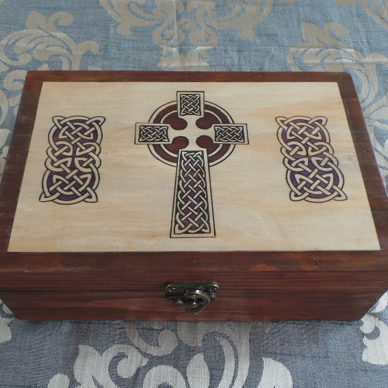 Celtic Keepsake/Jewellery Box; Celtic Cross - Natural & Brown