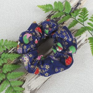 Oriental Style Scrunchie  - Navy/Red