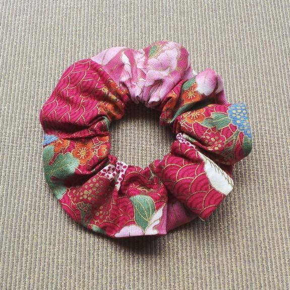 Oriental Style Scrunchie  - Cherry/Pink