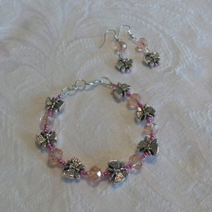 Child's Butterfly Set: Bracelet & Earrings - Pink Crystal