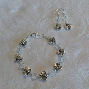 Child's Butterfly Set: Bracelet & Earrings - Clear Crystal