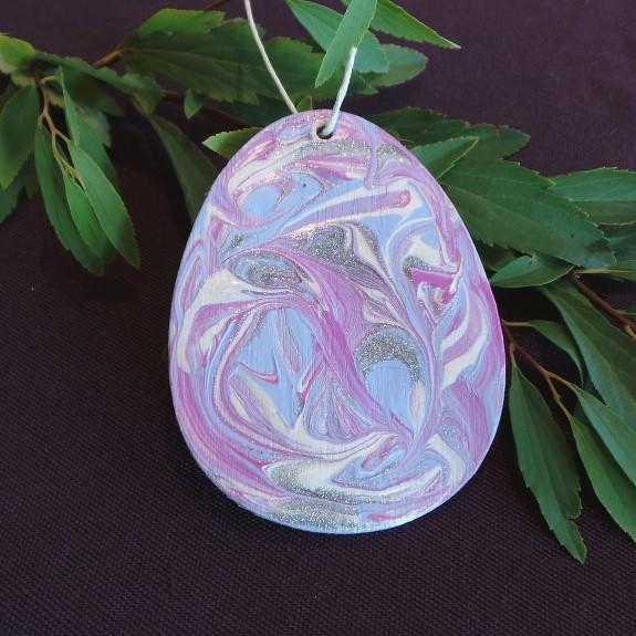 Easter Egg Hanging Decoration - Mauve
