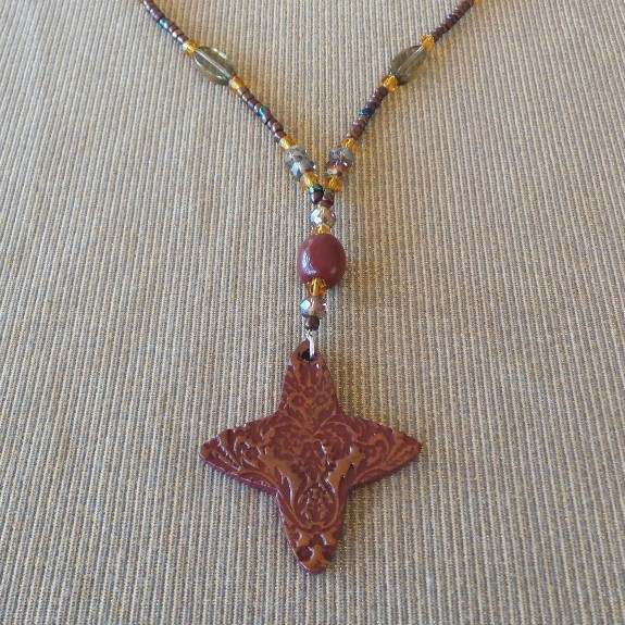Florentine Inspiration, Long Necklace & Earrings: Russet/Amber