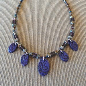 Venetian Inspirations, Short Necklace and Earrings: Purple/Violet