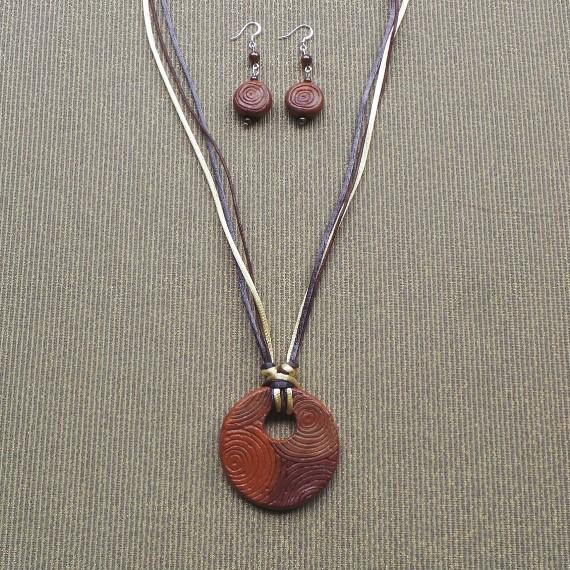 Spirit of Australia – Sacred Desert  Necklace & Earring Set: Brown/Rust